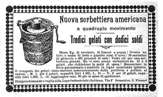 - Advertisement for 'new American sorbet maker' - image from: A. Capatti & M. Montanari Italian cuisine: a cultural history -